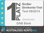 Platz 1 Testsiegel, Girokonto Test 2014/09