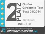 Platz 2 Testsiegel, Girokonto Test 2014/09