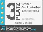 Platz 3 Testsiegel, Girokonto Test 2014/09
