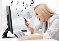Man in the Middle Atacke, Ärgerliche Frau schimpft auf Telefon