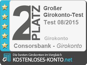Testsiegel Platz 2 Girokonto-Test 2015