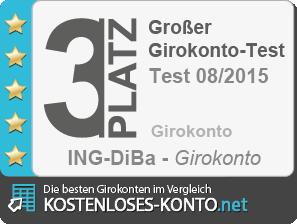 Testsiegel 3. Platz Girokonto-Test 2015