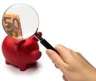 Rotes Schwein mit Lupe und 50 Euro