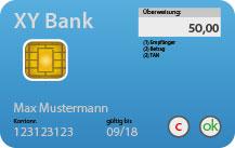Abbildung Bankkarte mit integriertem Display