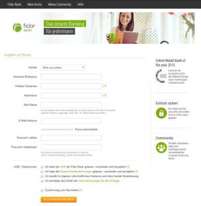 Fidor Bank Kontoeröffnung Registrierungsformular
