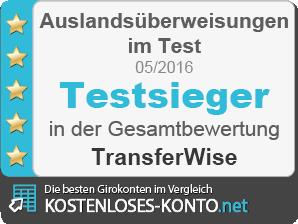 Testsiegel für Transferwise als Testsieger