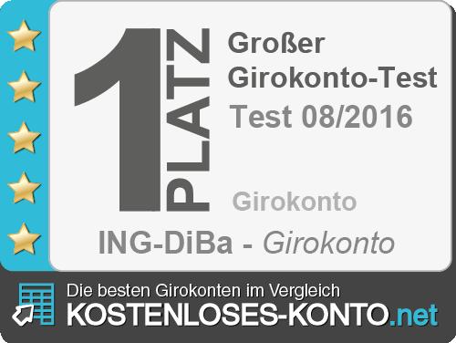 Platz 1 im Girokonto-Test 08/2016 von Kostenloses-Konto.net