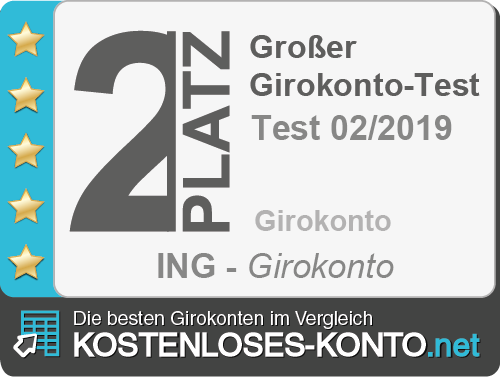 Testsiegel 1. Platz ING Girokonto