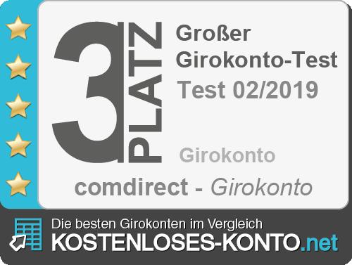 Testsiegel 3. Platz comdirect Girokonto